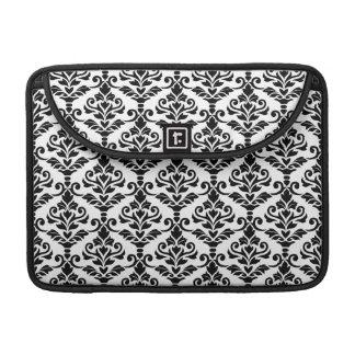 Cresta Damask Pattern Black on White Sleeve For MacBooks