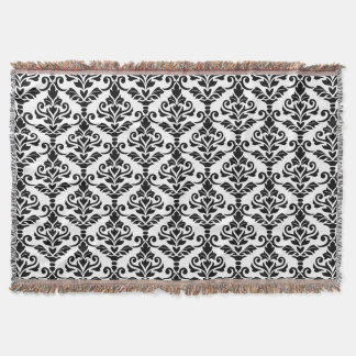 black and white damask throw blankets zazzle. Black Bedroom Furniture Sets. Home Design Ideas