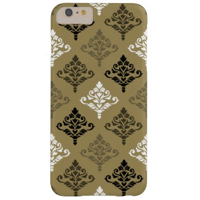 Cresta Damask Ptn Black White Bronzes Gold Barely There iPhone 6 Plus Case
