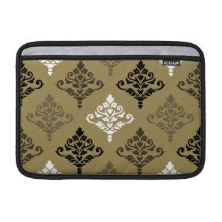 Cresta Damask Ptn Black White Bronzes Gold MacBook Air Sleeve