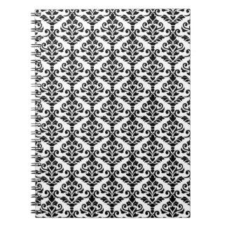 Cresta Damask Repeat Pattern Black on White Notebook