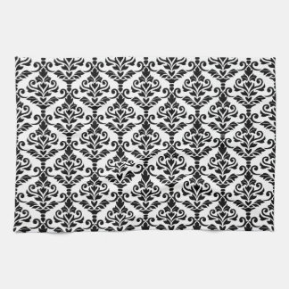 Cresta Damask Repeat Pattern Black on White Towel
