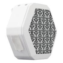Cresta Damask Repeat Pattern Black on White White Bluetooth Speaker