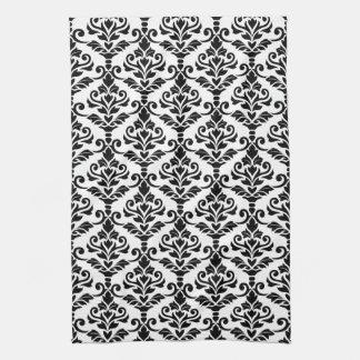 Cresta Damask Vertical Pattern Black on White Hand Towel