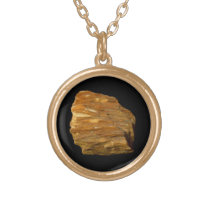 Crested Barite on Black Gold Finish Necklace