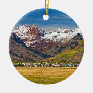 Crested Butte Colorado Autumn View Ceramic Ornament