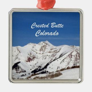 Crested Butte, Colorado Square Metal Christmas Ornament