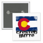 Crested Butte Grunge Flag Buttons