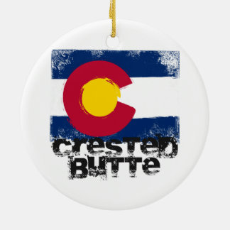 Crested Butte Grunge Flag Ceramic Ornament