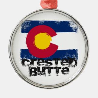 Crested Butte Grunge Flag Metal Ornament