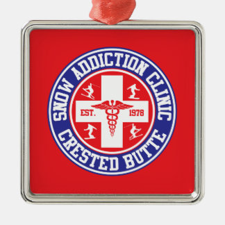 Crested Butte Snow Addiction Clinic Metal Ornament