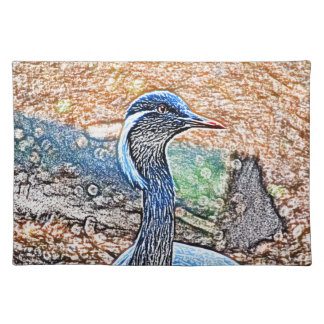 crested crane colored pencil look bird image cloth placemat