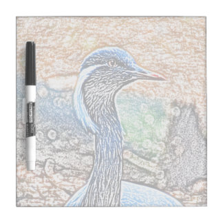 crested crane colored pencil look bird image dry erase boards