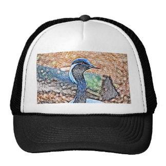 crested crane colored pencil look bird image trucker hat