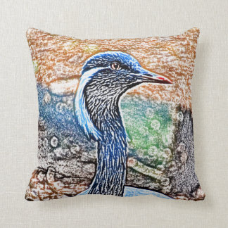 crested crane colored pencil look bird image throw pillow