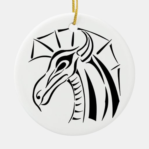 Crested Dragon Round Ornament