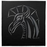 Crested Dragon (silver) Napkin