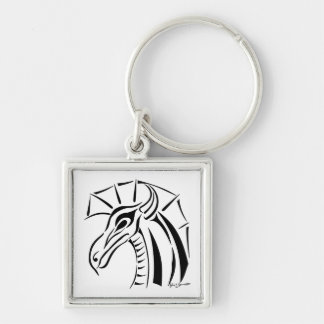 Crested Dragon Square Keychain