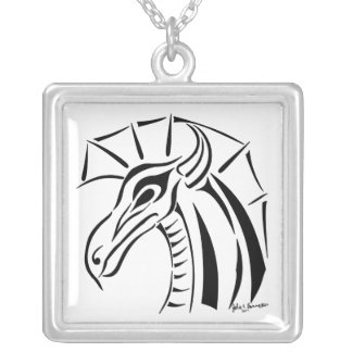 Crested Dragon Square Necklace