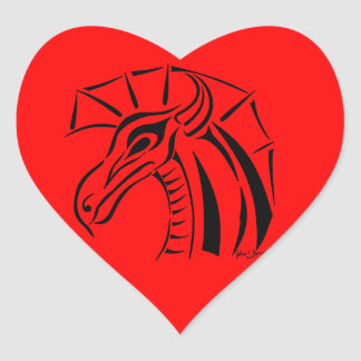 Crested Dragon Sticker Heart