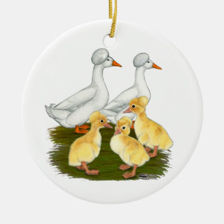 Crested Duck Family Ceramic Ornament