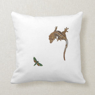 Crested Gecko and Green moth cushion Throw Pillows