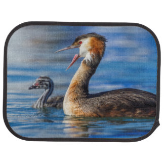 Crested grebe, podiceps cristatus, duck and baby car mat