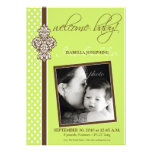 "Crested Ornate 5x7"" Birth Announcement (lime)"