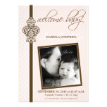 "Crested Ornate 5x7"" Birth Announcement (pink)"