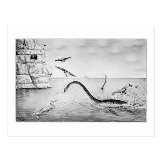 Cretaceous Plesiosaur art postcard