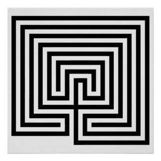 Cretan Labyrinth in black-and-white Poster