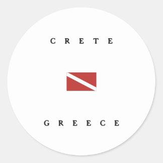 Crete Greece Scuba Dive Flag Classic Round Sticker