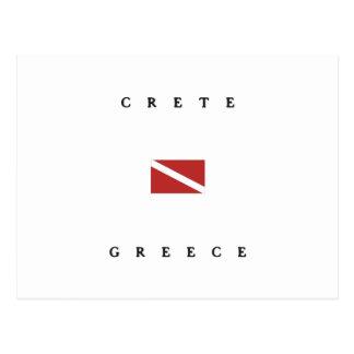 Crete Greece Scuba Dive Flag Postcard