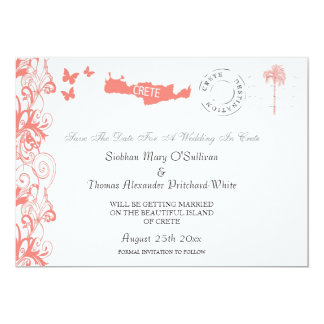 Crete Save The Date In Coral Pink And White Custom Invitation