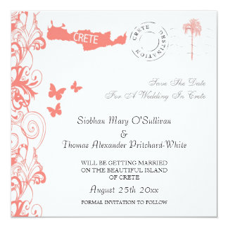 Crete Save The Date In Coral Pink And White Announcements