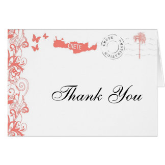 Crete Thank You Card In Coral Pink And White