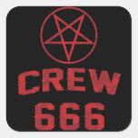 Crew 666 Pentagram Square Sticker