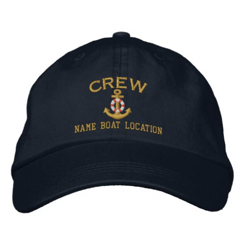 CREW Anchor Your Boat Name Your Name or Both Embroidered Baseball Hat
