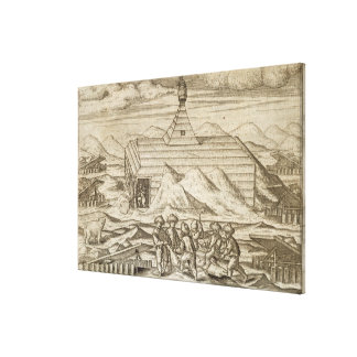Crew killing and skinning bears, outside  the cabi canvas print