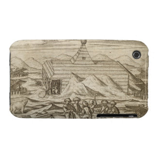 Crew killing and skinning bears, outside  the cabi iPhone 3 cover