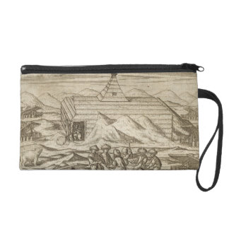Crew killing and skinning bears, outside  the cabi wristlet purse