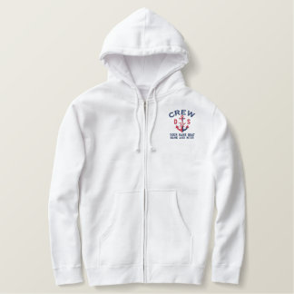 Crew Nautical Anchor Personalized Monogram Embroidered Hoodie