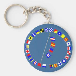 CREW Nautical Signal Flag Message Basic Round Button Keychain