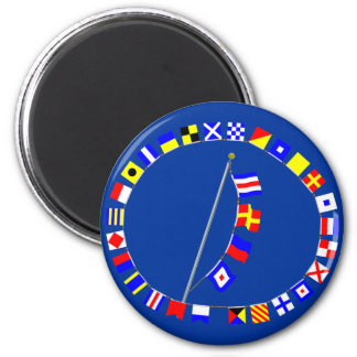 CREW Nautical Signal Flag Message 2 Inch Round Magnet