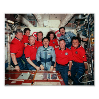 Crew of Space Shuttle Discovery (STS-91) and Mir Poster