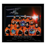 Crew of the STS-108 Shuttle Mission with ISS Crew Posters