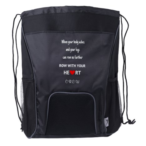 Crew rowing quote custom initials sports drawstring backpack