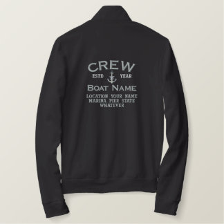 Crew Silver Star Anchor Easily Personalized Embroidered Jacket