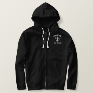 Crew Silver Star Anchor Personalized Monogram Embroidered Hoodie