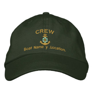 Crew Style Your Boat Name Your Name or Both Embroidered Baseball Cap